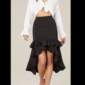 NWT Women's BEBE ruffle high low skirt black XS